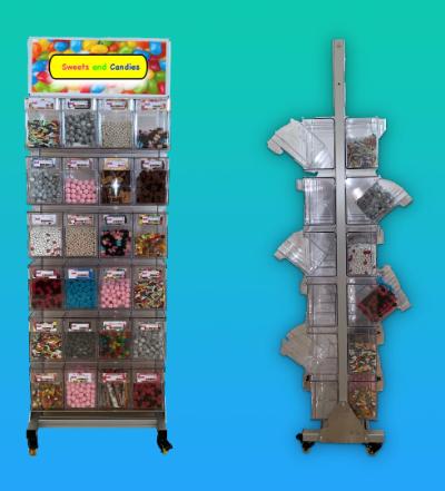 Verkaufsdispenser auf Rollen versehen mit Candyboxen.